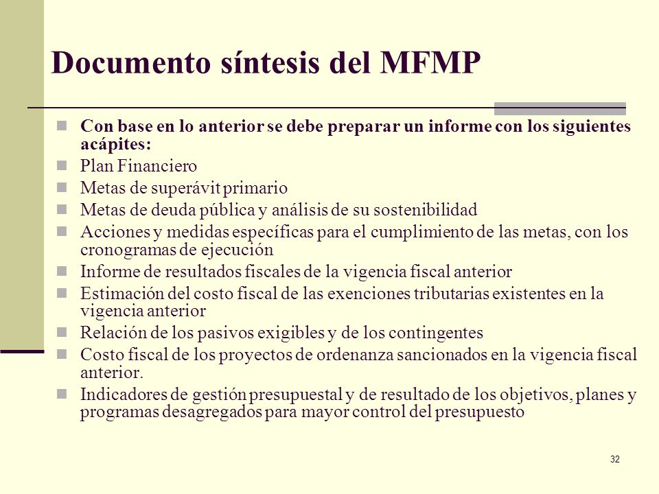 Documento síntesis del MFMP