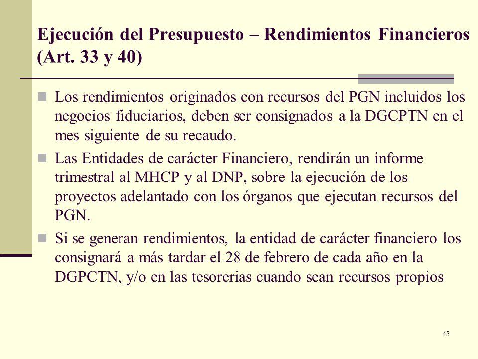 Ejecución del Presupuesto – Rendimientos Financieros (Art. 33 y 40)