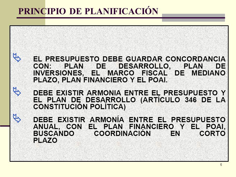 PRINCIPIO DE PLANIFICACIÓN