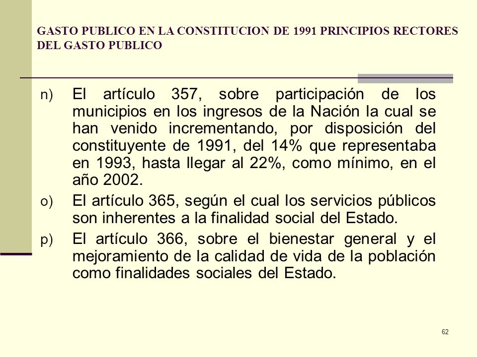 GASTO PUBLICO EN LA CONSTITUCION DE 1991 PRINCIPIOS RECTORES DEL GASTO PUBLICO