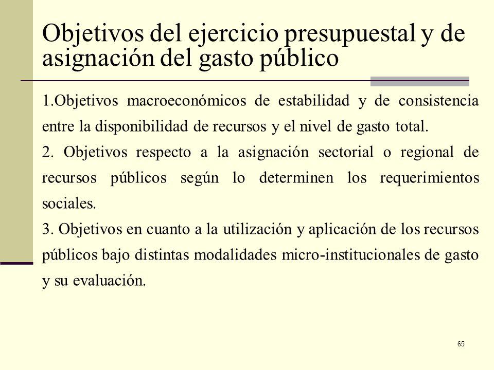 Objetivos del ejercicio presupuestal y de asignación del gasto público