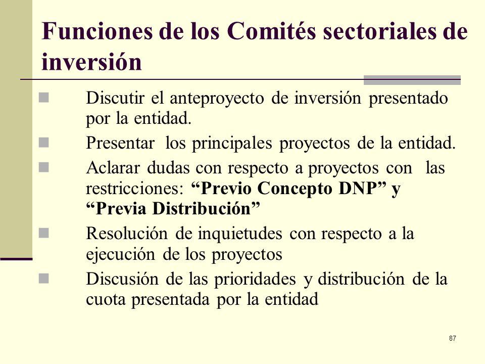 Funciones de los Comités sectoriales de inversión