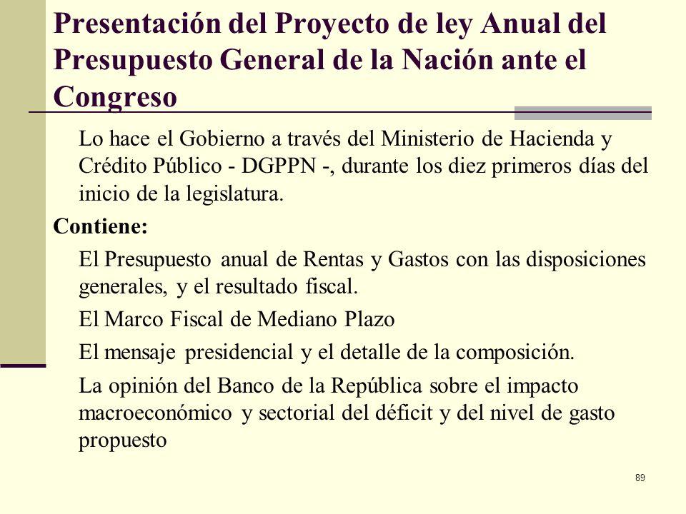 Presentación del Proyecto de ley Anual del Presupuesto General de la Nación ante el Congreso