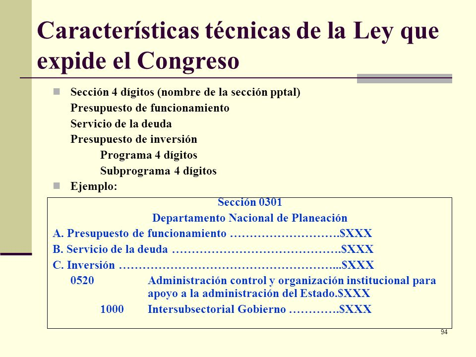 Características técnicas de la Ley que expide el Congreso
