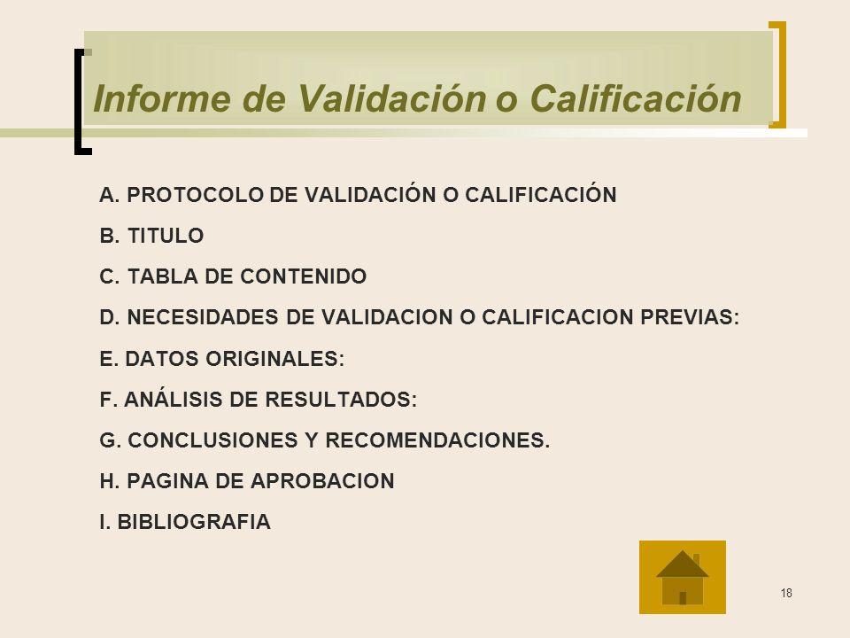 Informe de Validación o Calificación