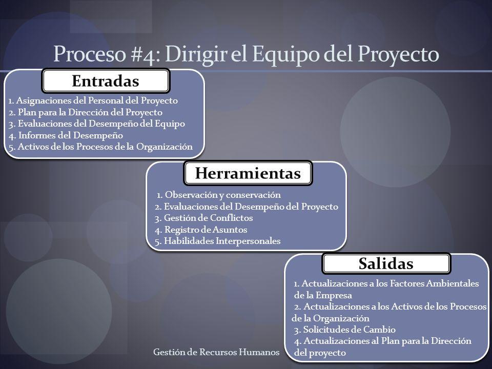 Proceso #4: Dirigir el Equipo del Proyecto