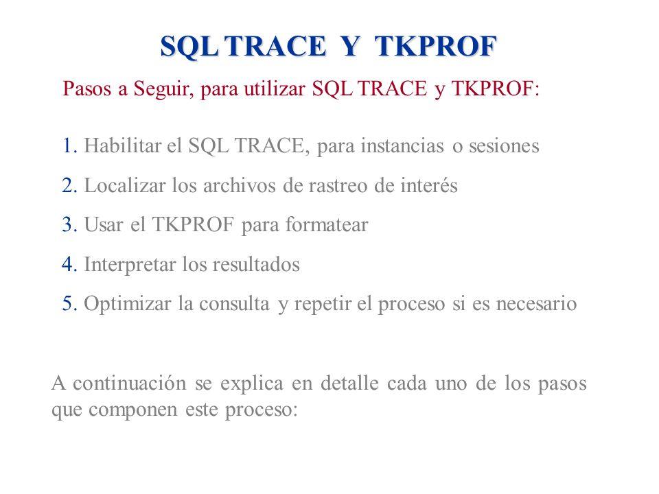 Pasos a Seguir, para utilizar SQL TRACE y TKPROF:
