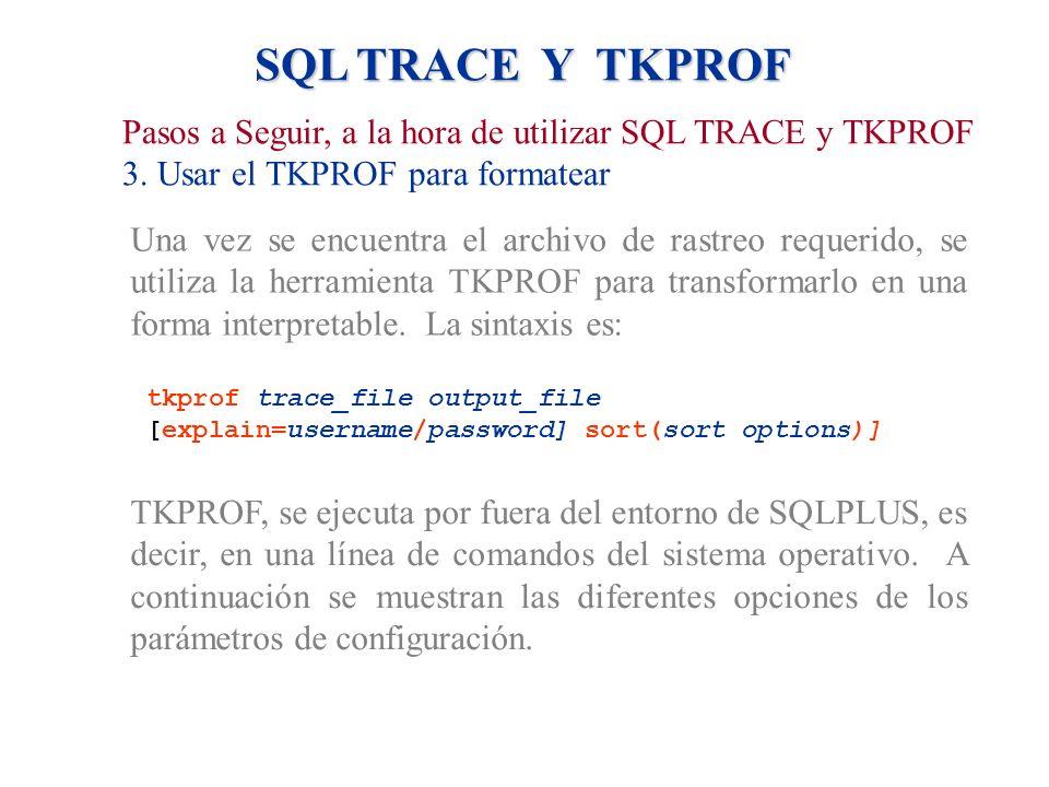 SQL TRACE Y TKPROF Pasos a Seguir, a la hora de utilizar SQL TRACE y TKPROF. 3. Usar el TKPROF para formatear.