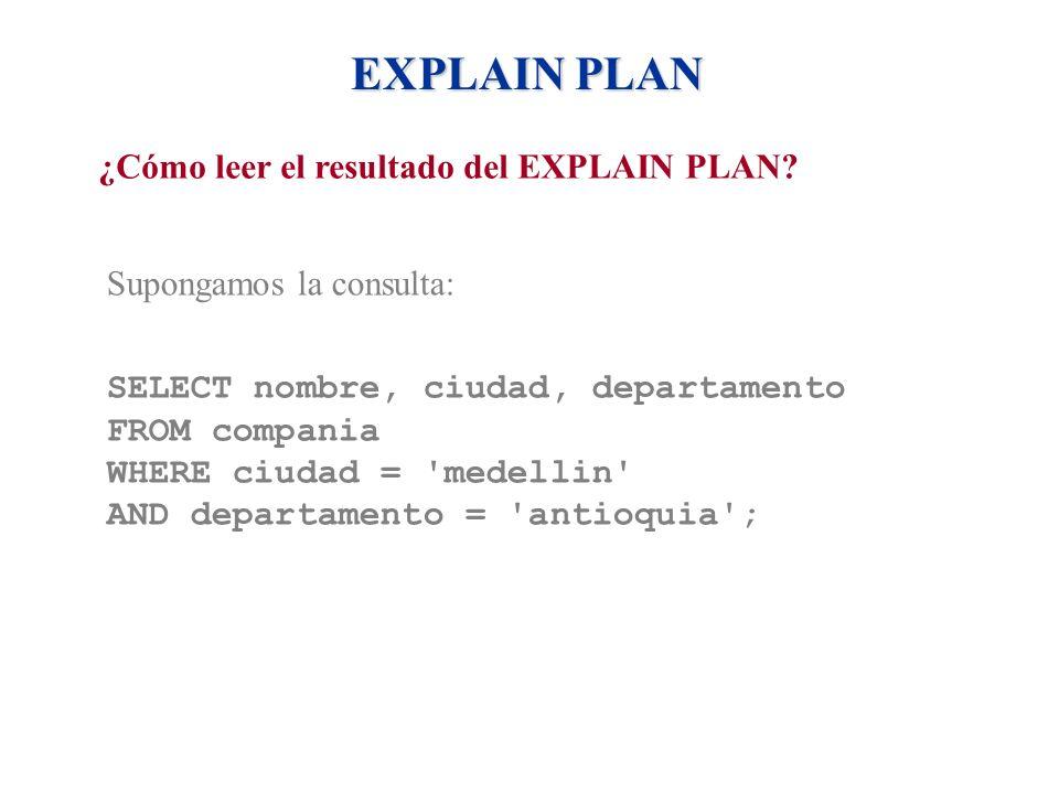 EXPLAIN PLAN ¿Cómo leer el resultado del EXPLAIN PLAN
