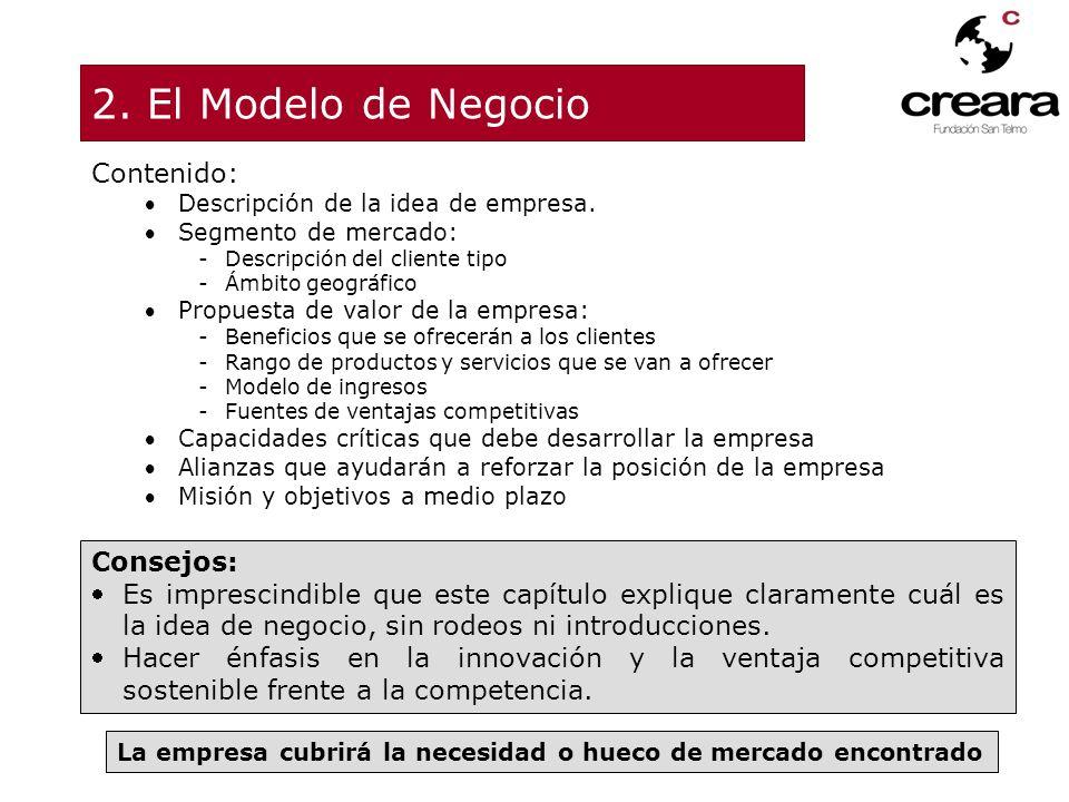 2. El Modelo de Negocio Contenido: Consejos: