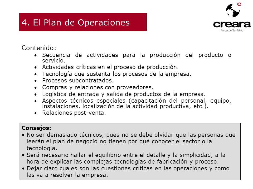 4. El Plan de Operaciones Contenido: