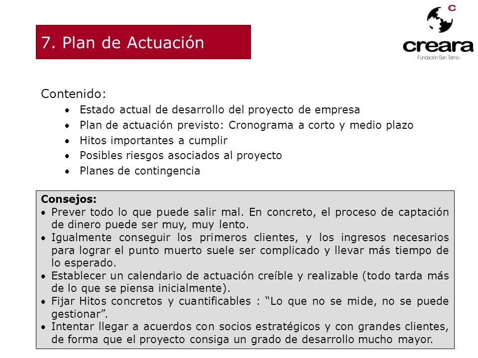 7. Plan de Actuación Contenido: