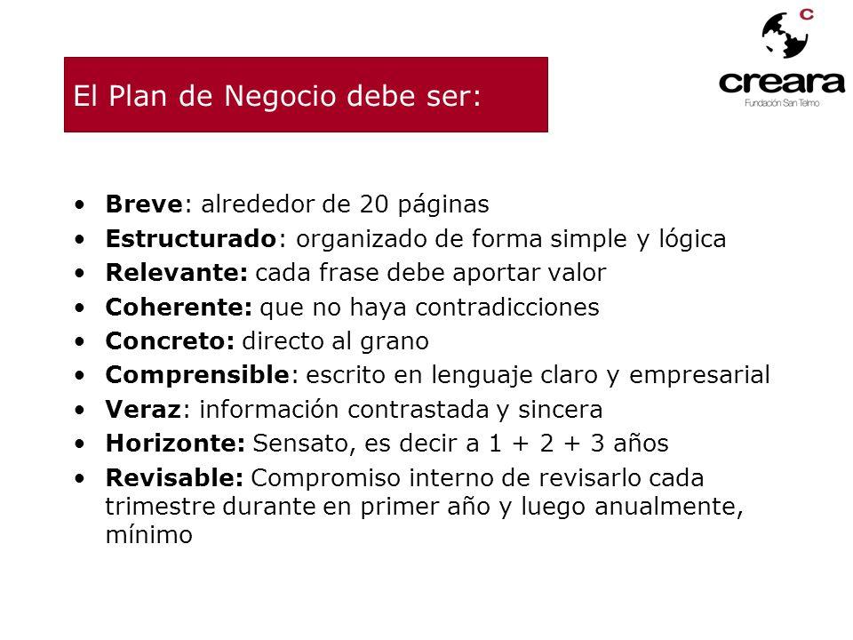El Plan de Negocio debe ser: