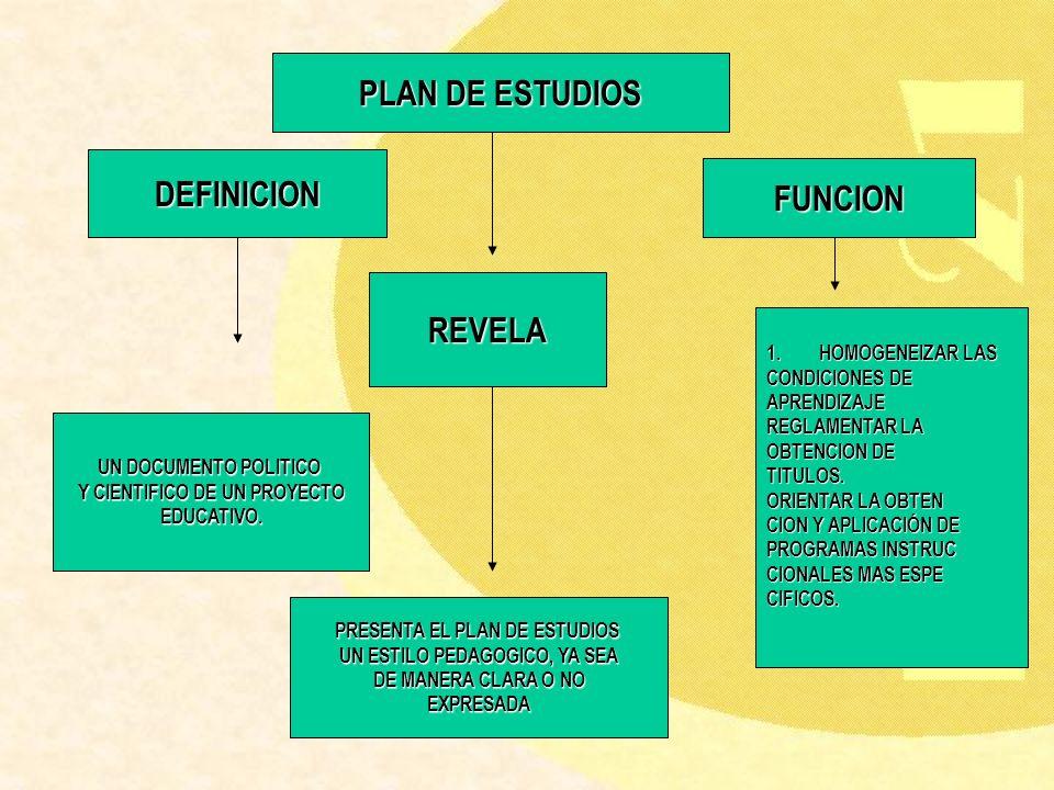 PLAN DE ESTUDIOS DEFINICION FUNCION REVELA