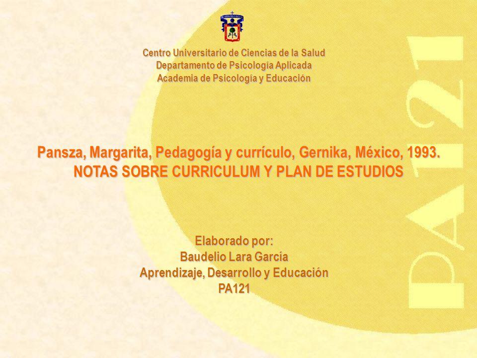Pansza, Margarita, Pedagogía y currículo, Gernika, México, 1993.