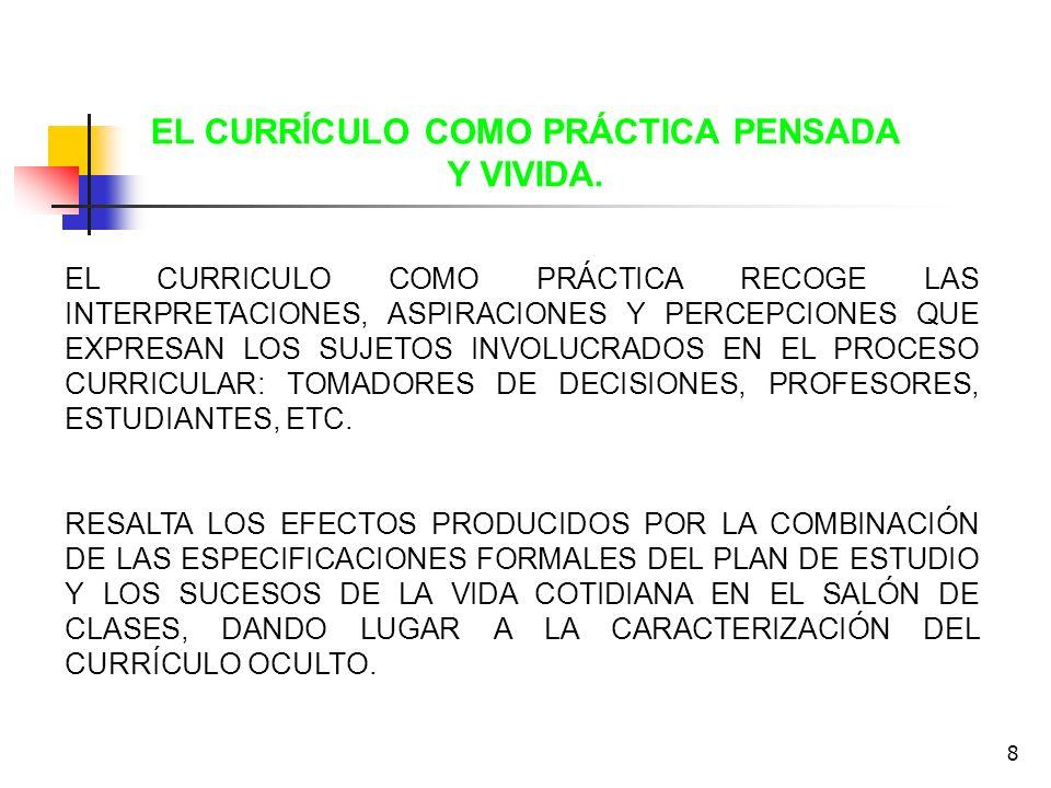 EL CURRÍCULO COMO PRÁCTICA PENSADA Y VIVIDA.