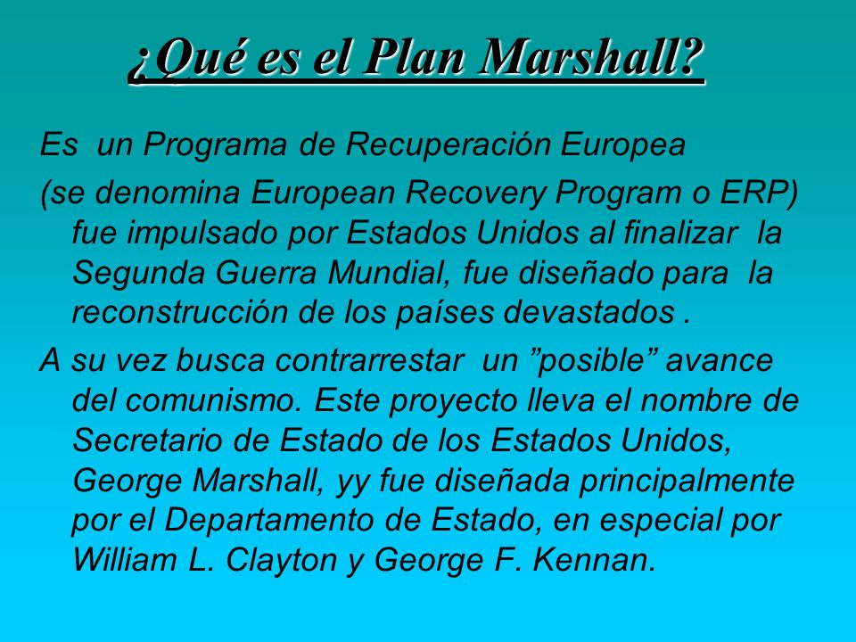 ¿Qué es el Plan Marshall