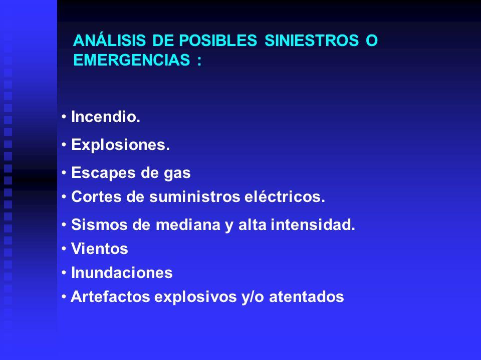 ANÁLISIS DE POSIBLES SINIESTROS O EMERGENCIAS :
