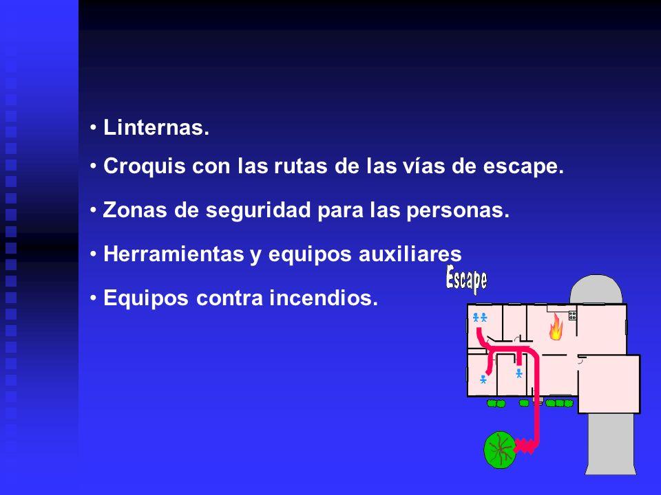 Linternas. Croquis con las rutas de las vías de escape. Zonas de seguridad para las personas. Herramientas y equipos auxiliares.