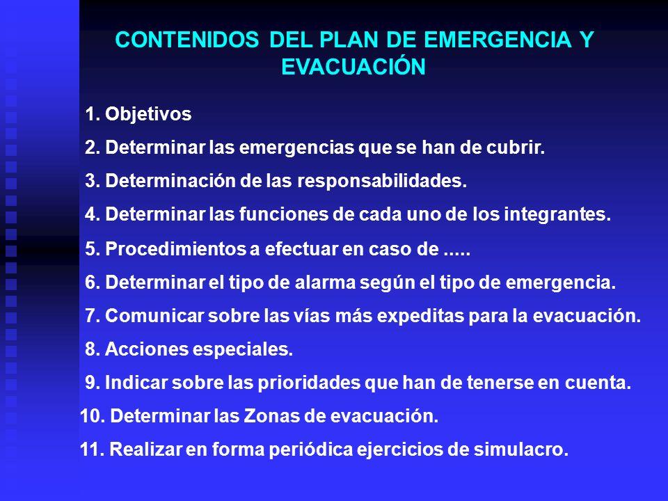 CONTENIDOS DEL PLAN DE EMERGENCIA Y EVACUACIÓN