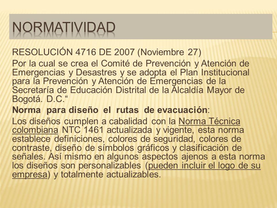 Normatividad RESOLUCIÓN 4716 DE 2007 (Noviembre 27)