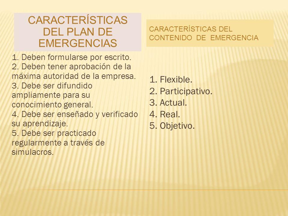 Características del plan de emergencias