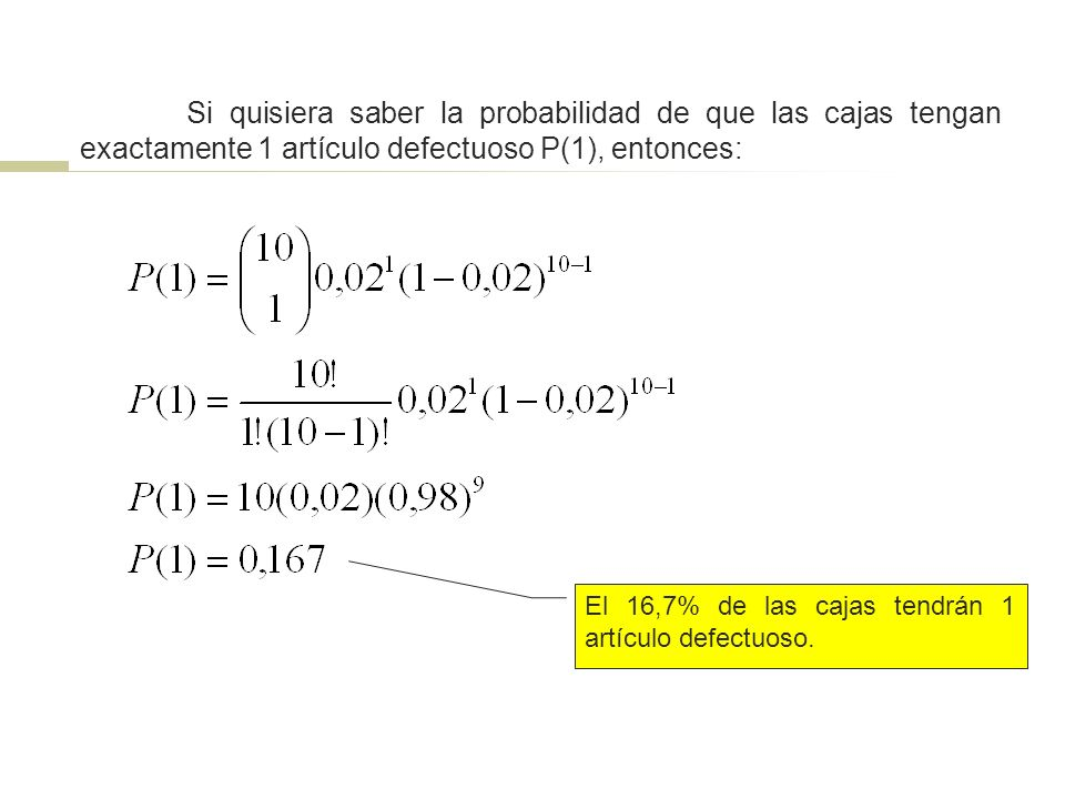 Si quisiera saber la probabilidad de que las cajas tengan exactamente 1 artículo defectuoso P(1), entonces: