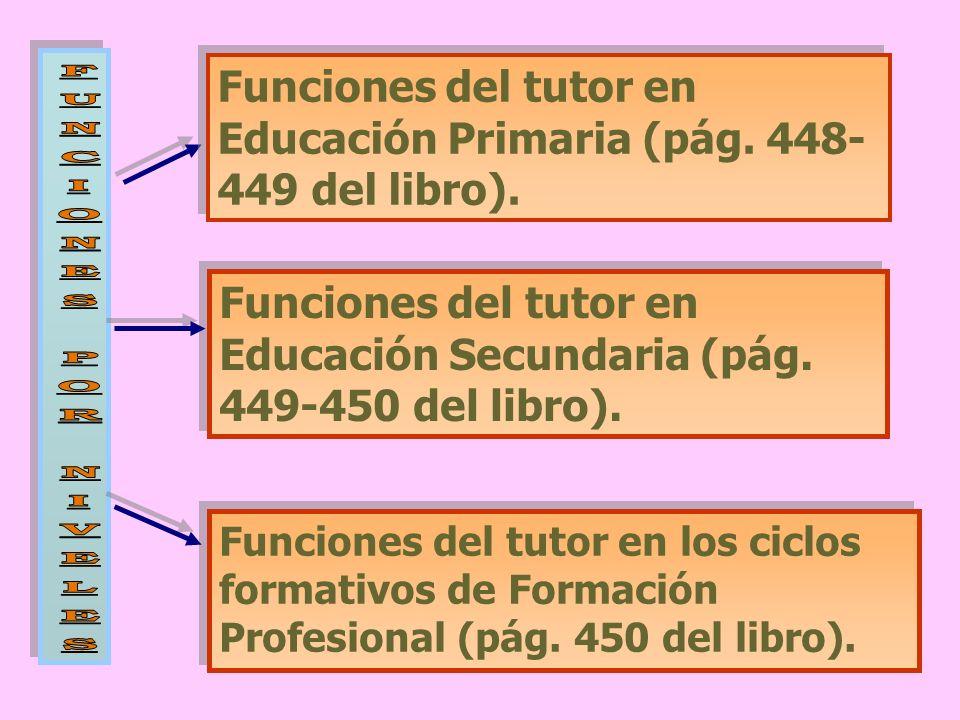 Funciones del tutor en Educación Primaria (pág. 448-449 del libro).