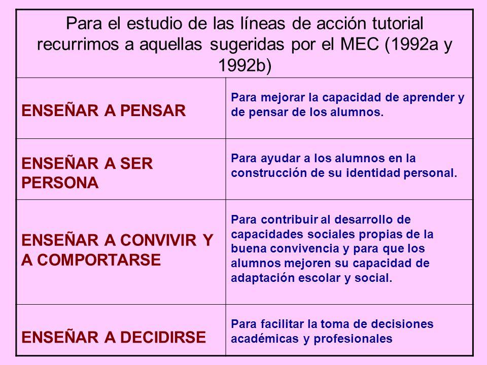 Para el estudio de las líneas de acción tutorial recurrimos a aquellas sugeridas por el MEC (1992a y 1992b)