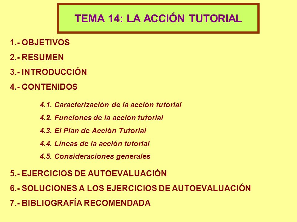 TEMA 14: LA ACCIÓN TUTORIAL