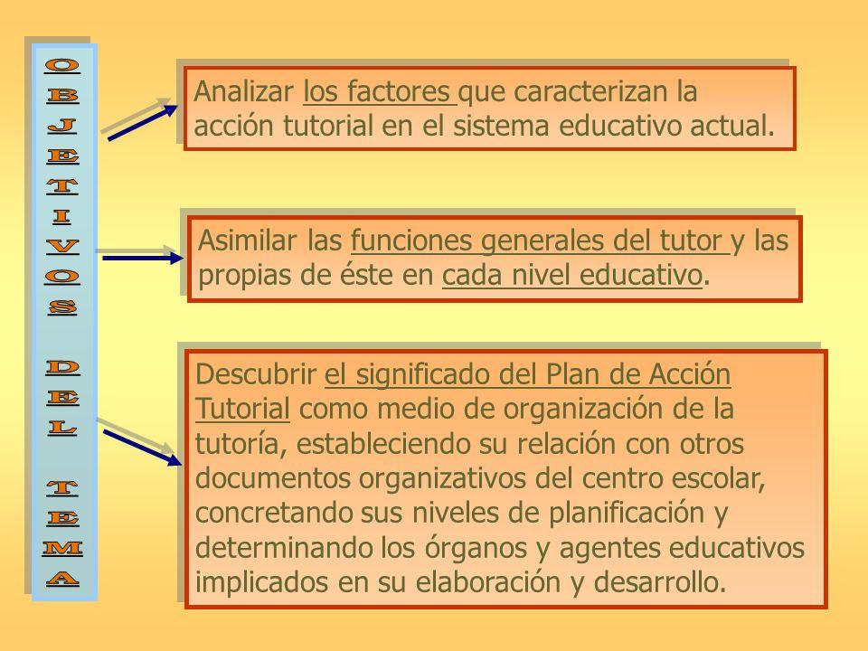 O B. J. E. T. I. V. S. D. L. M. A. Analizar los factores que caracterizan la acción tutorial en el sistema educativo actual.