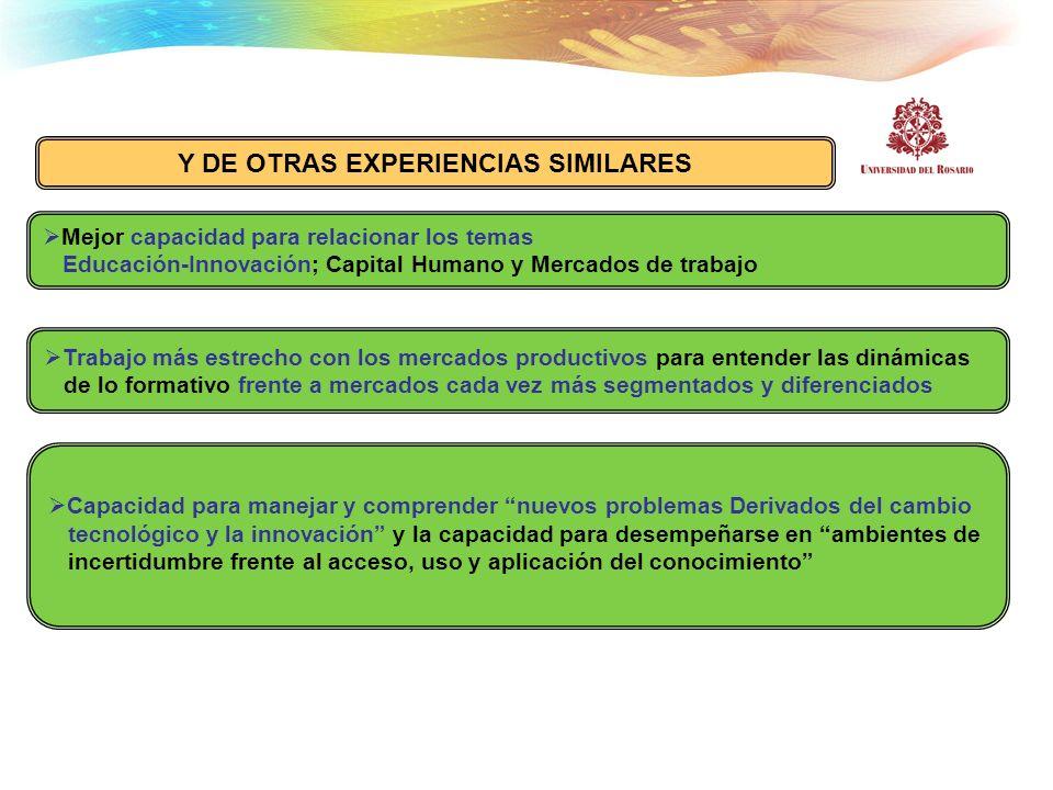 Y DE OTRAS EXPERIENCIAS SIMILARES