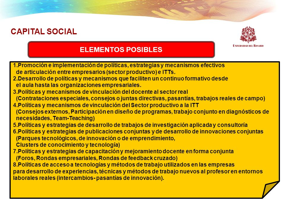 CAPITAL SOCIAL ELEMENTOS POSIBLES