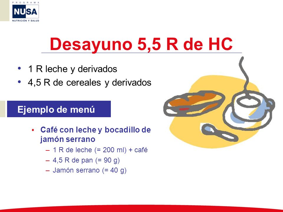 Desayuno 5,5 R de HC 1 R leche y derivados