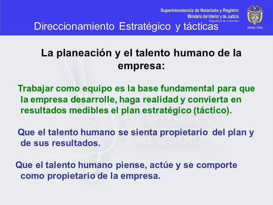 La planeación y el talento humano de la empresa: