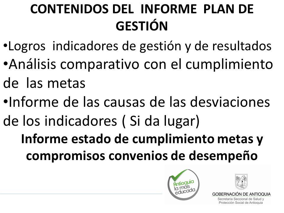 CONTENIDOS DEL INFORME PLAN DE GESTIÓN