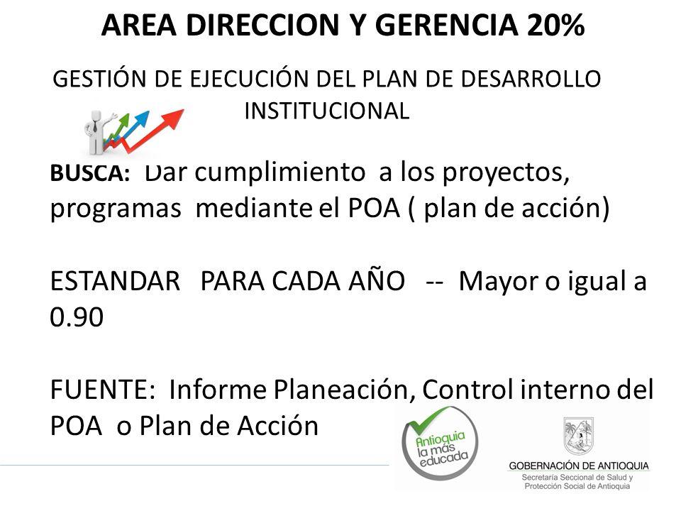 AREA DIRECCION Y GERENCIA 20%