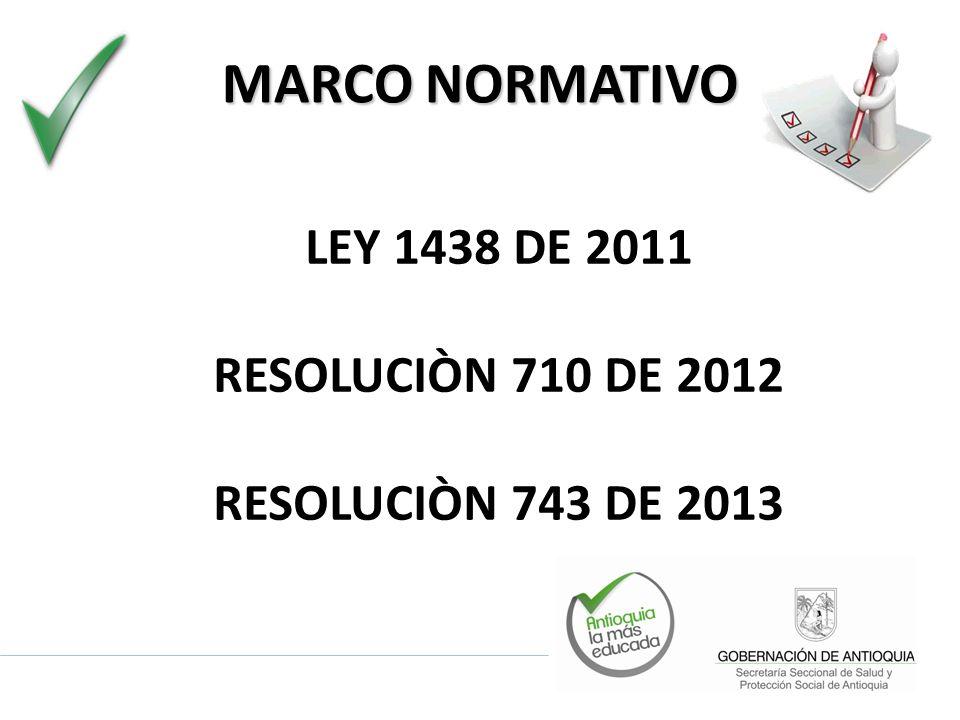 MARCO NORMATIVO LEY 1438 DE 2011 RESOLUCIÒN 710 DE 2012