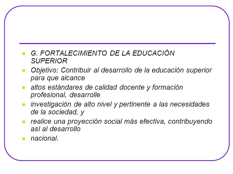 G. FORTALECIMIENTO DE LA EDUCACIÓN SUPERIOR