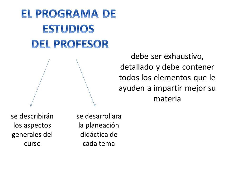 EL PROGRAMA DE ESTUDIOS DEL PROFESOR