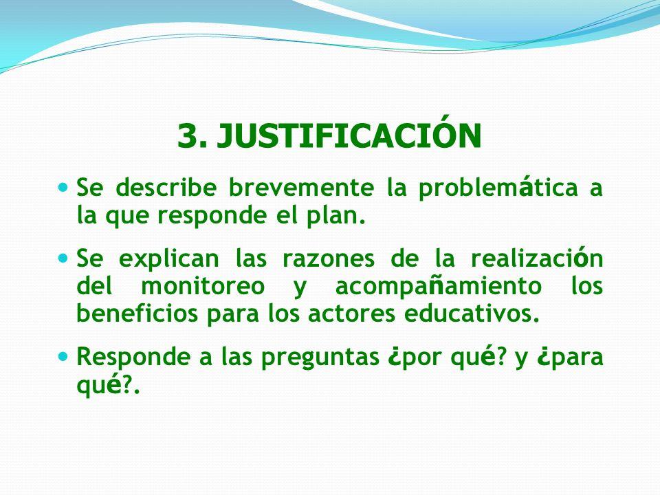 3. JUSTIFICACIÓN Se describe brevemente la problemática a la que responde el plan.