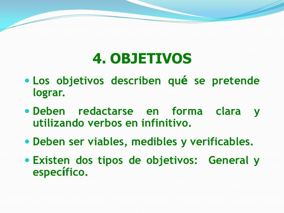 4. OBJETIVOS Los objetivos describen qué se pretende lograr.