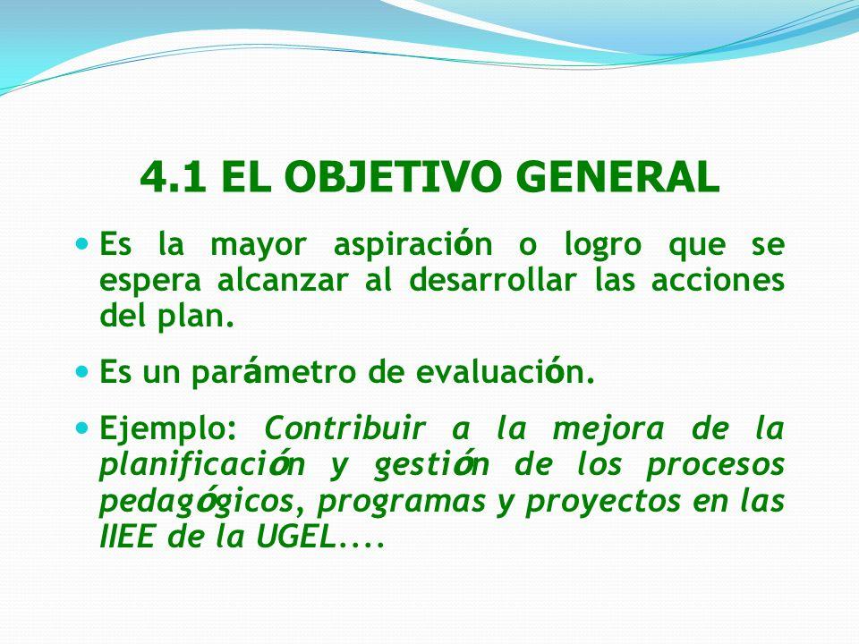 4.1 EL OBJETIVO GENERAL Es la mayor aspiración o logro que se espera alcanzar al desarrollar las acciones del plan.