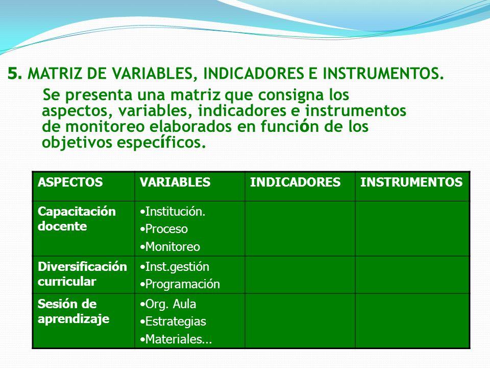 5. MATRIZ DE VARIABLES, INDICADORES E INSTRUMENTOS.