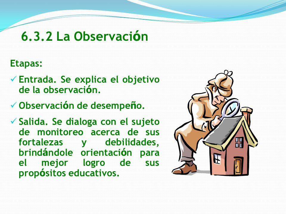 6.3.2 La Observación Etapas: