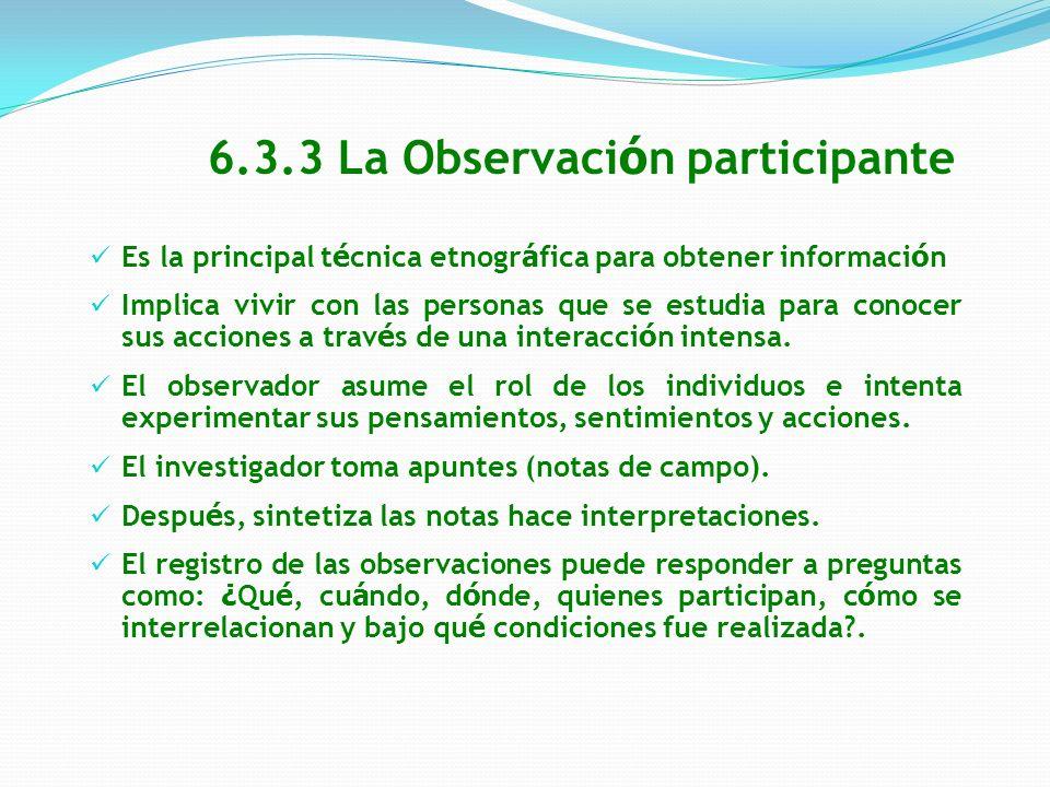 6.3.3 La Observación participante