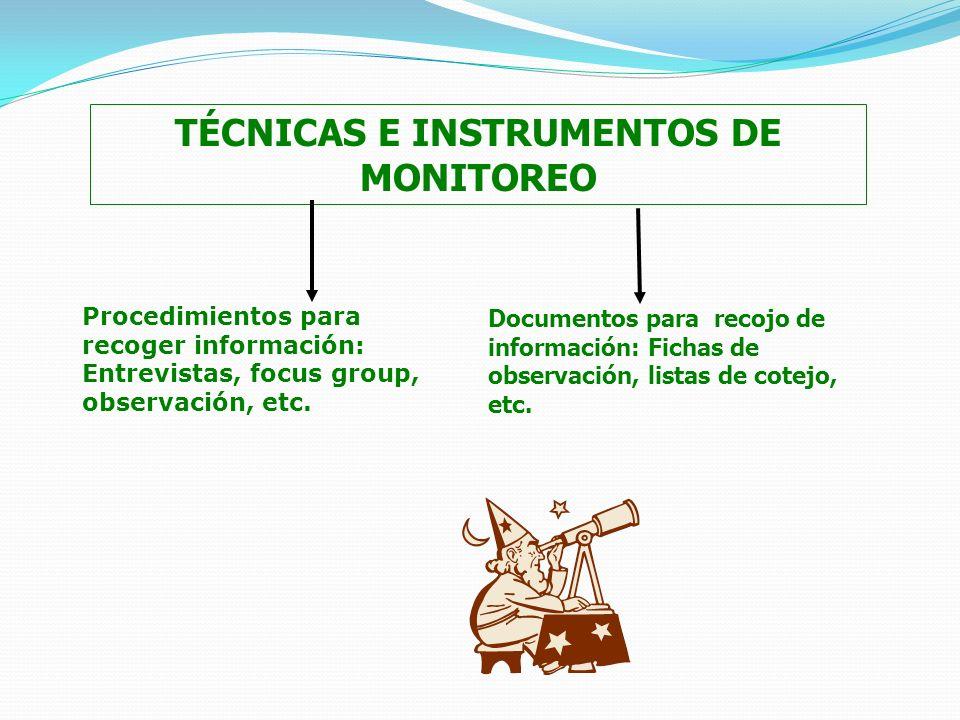 TÉCNICAS E INSTRUMENTOS DE MONITOREO