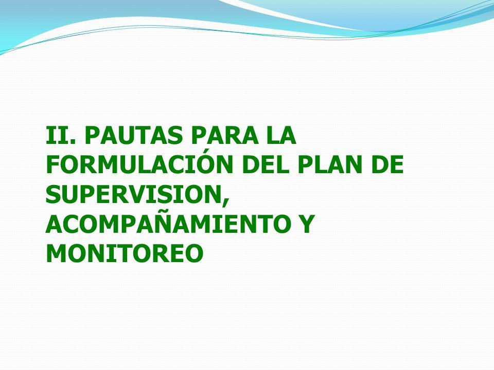 II. PAUTAS PARA LA FORMULACIÓN DEL PLAN DE SUPERVISION, ACOMPAÑAMIENTO Y MONITOREO