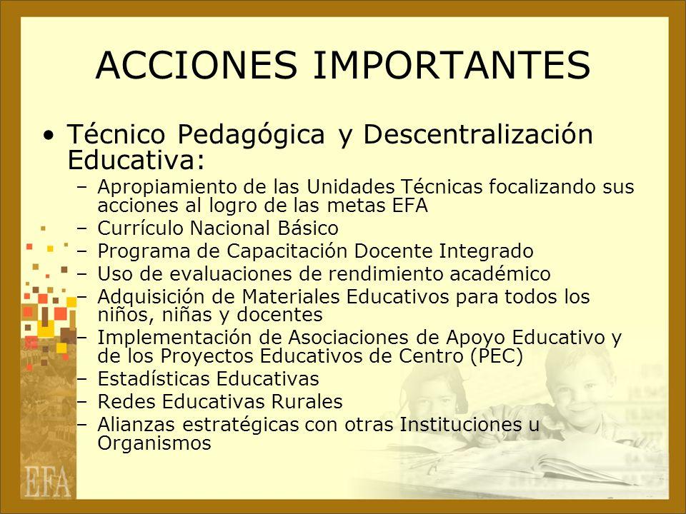 ACCIONES IMPORTANTES Técnico Pedagógica y Descentralización Educativa: