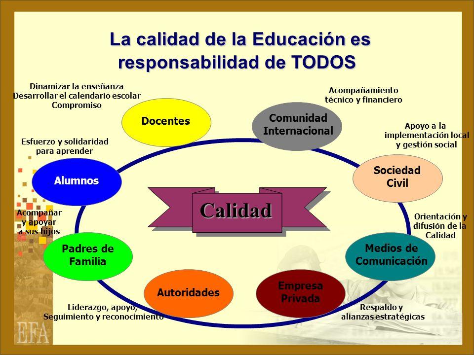 La calidad de la Educación es responsabilidad de TODOS
